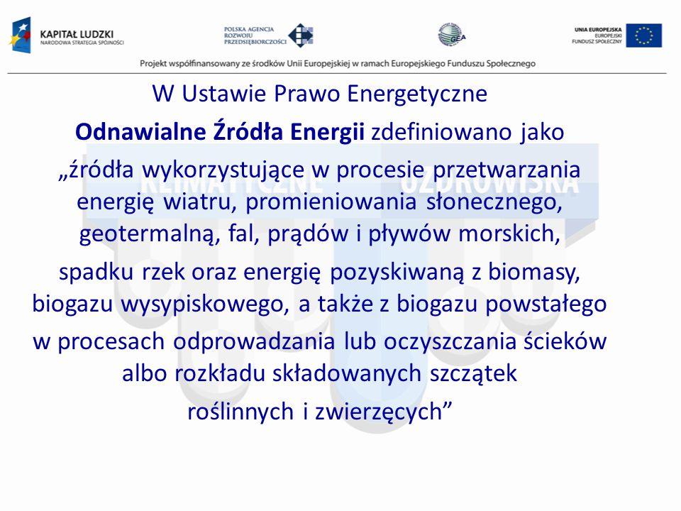 W Ustawie Prawo Energetyczne Odnawialne Źródła Energii zdefiniowano jako źródła wykorzystujące w procesie przetwarzania energię wiatru, promieniowania