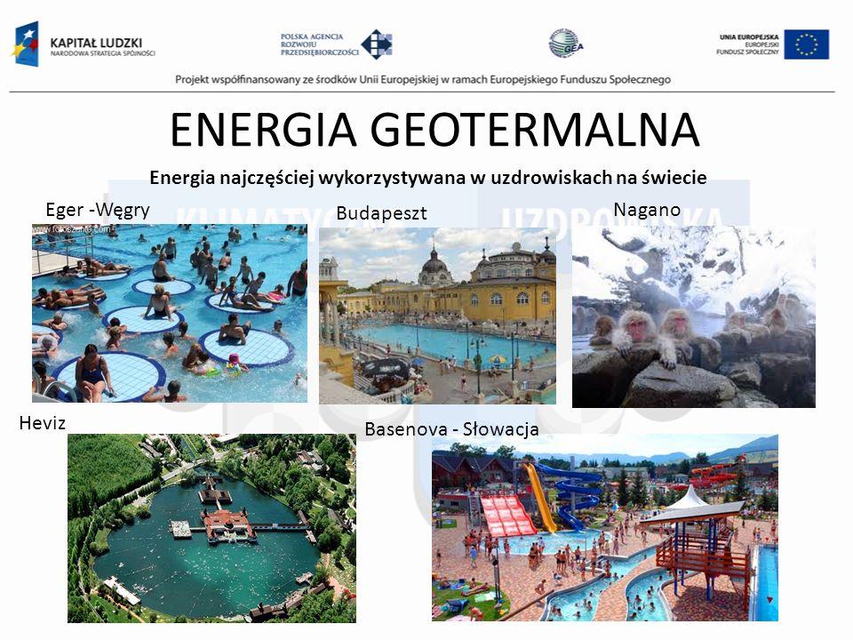 ENERGIA GEOTERMALNA Energia najczęściej wykorzystywana w uzdrowiskach na świecie Eger -Węgry Budapeszt Nagano Heviz Basenova - Słowacja