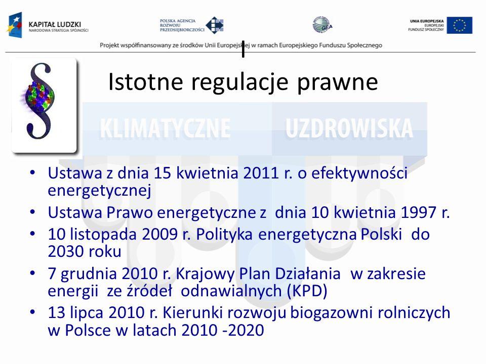 I Istotne regulacje prawne Ustawa z dnia 15 kwietnia 2011 r. o efektywności energetycznej Ustawa Prawo energetyczne z dnia 10 kwietnia 1997 r. 10 list