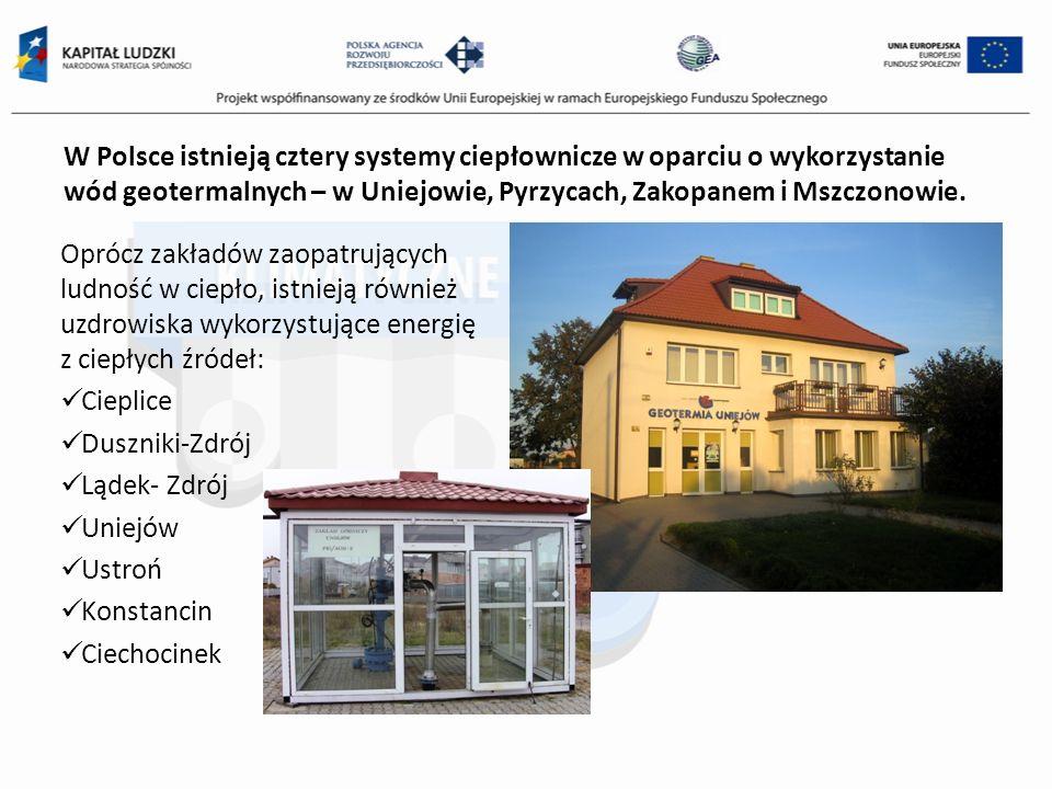 W Polsce istnieją cztery systemy ciepłownicze w oparciu o wykorzystanie wód geotermalnych – w Uniejowie, Pyrzycach, Zakopanem i Mszczonowie. Oprócz za