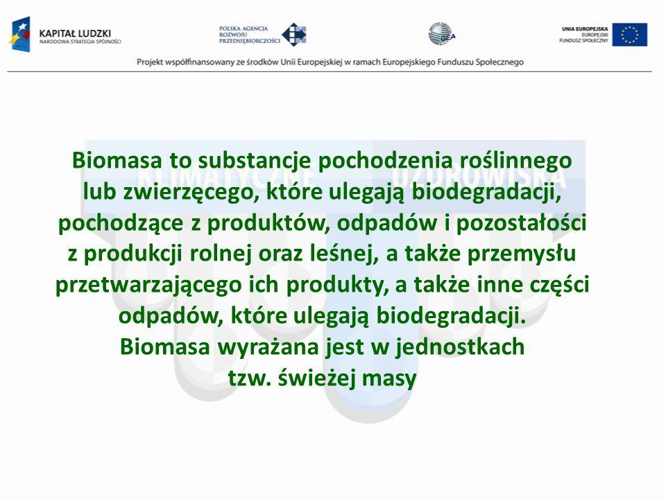Biomasa to substancje pochodzenia roślinnego lub zwierzęcego, które ulegają biodegradacji, pochodzące z produktów, odpadów i pozostałości z produkcji