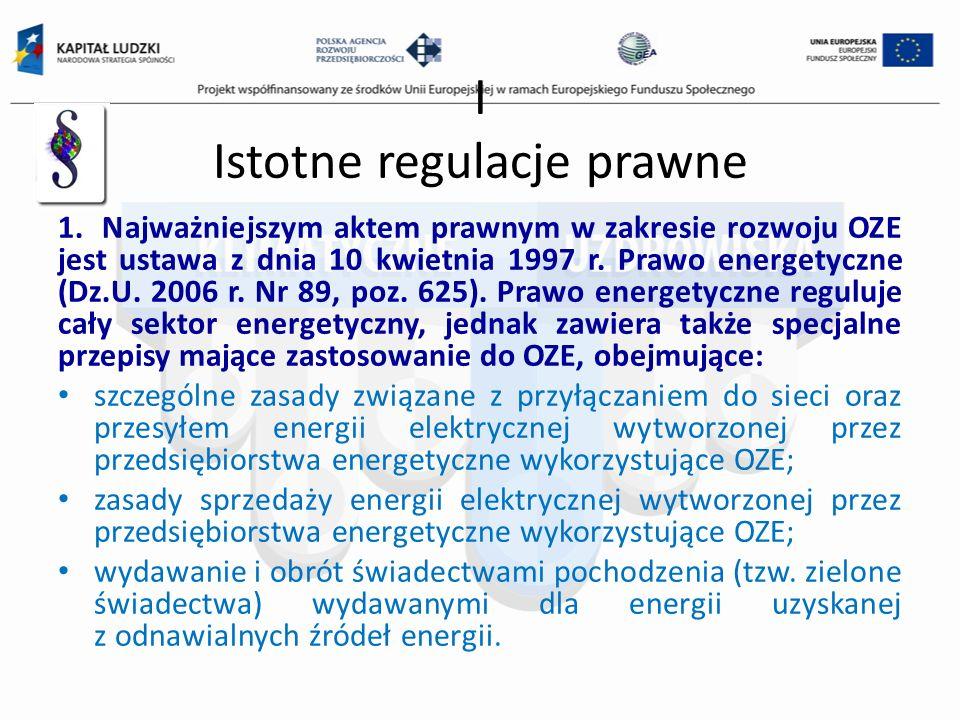 I Istotne regulacje prawne 1. Najważniejszym aktem prawnym w zakresie rozwoju OZE jest ustawa z dnia 10 kwietnia 1997 r. Prawo energetyczne (Dz.U. 200