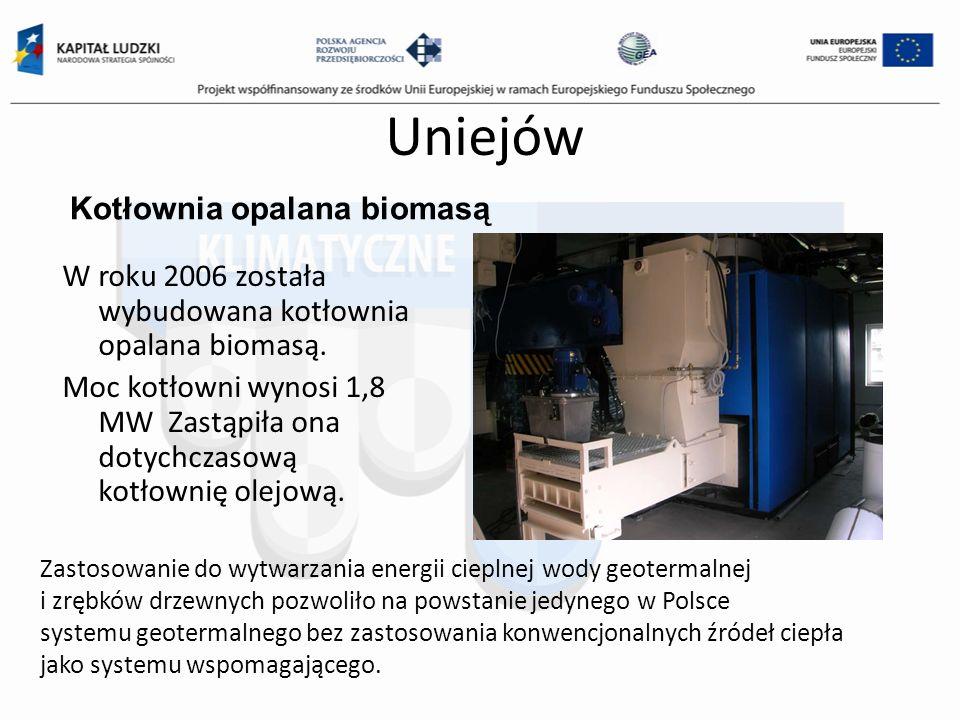 Uniejów Kotłownia opalana biomasą W roku 2006 została wybudowana kotłownia opalana biomasą. Moc kotłowni wynosi 1,8 MW Zastąpiła ona dotychczasową kot