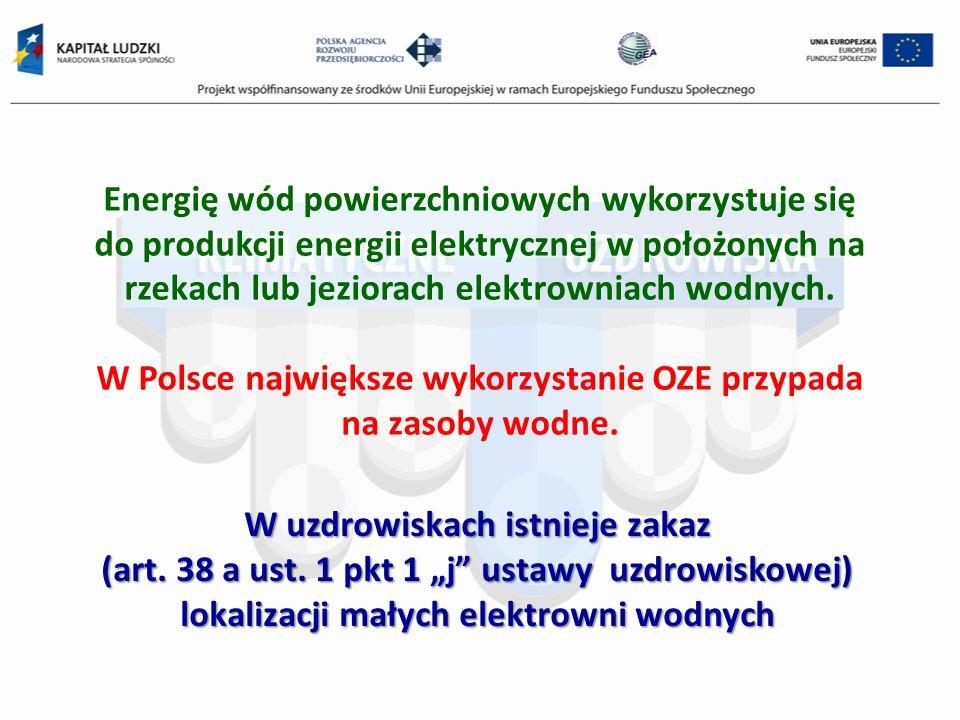 Energię wód powierzchniowych wykorzystuje się do produkcji energii elektrycznej w położonych na rzekach lub jeziorach elektrowniach wodnych. W Polsce