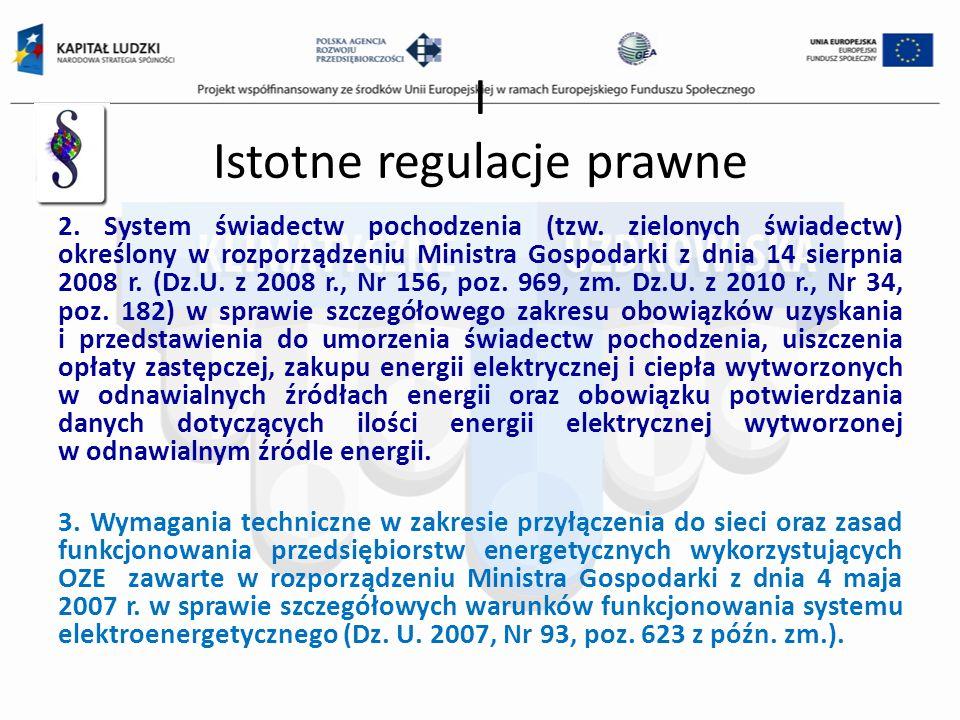 I Istotne regulacje prawne 2. System świadectw pochodzenia (tzw. zielonych świadectw) określony w rozporządzeniu Ministra Gospodarki z dnia 14 sierpni