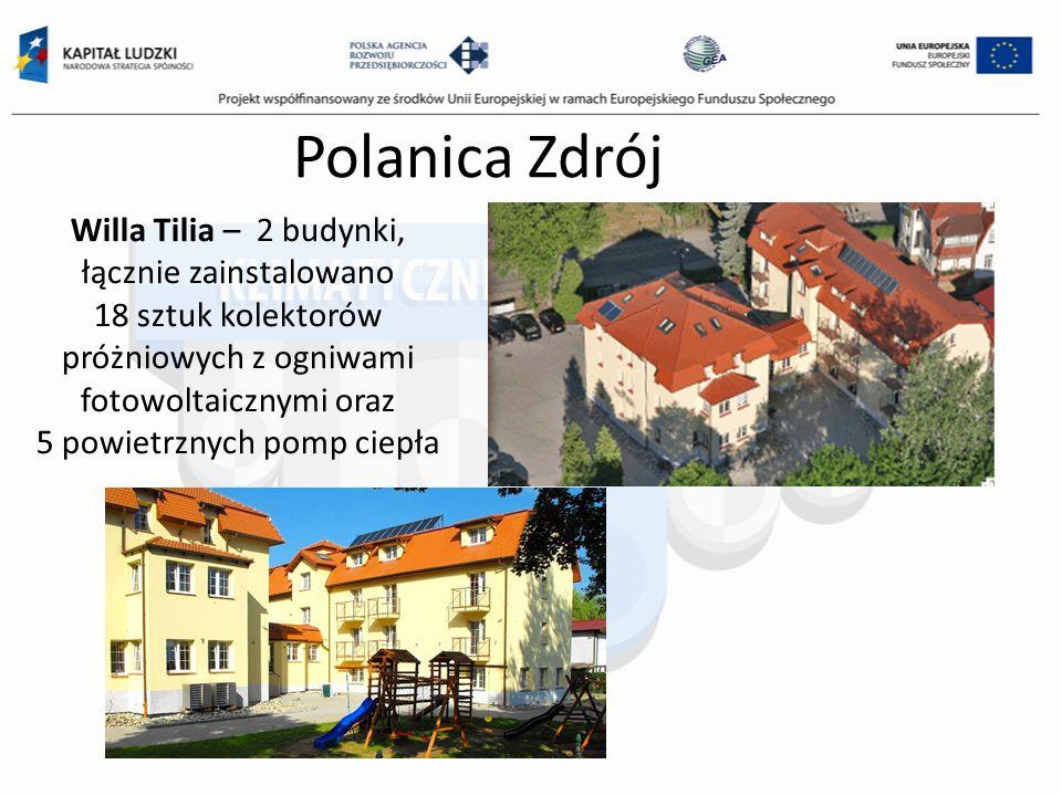 Polanica Zdrój Willa Tilia – 2 budynki, łącznie zainstalowano 18 sztuk kolektorów próżniowych z ogniwami fotowoltaicznymi oraz 5 powietrznych pomp cie