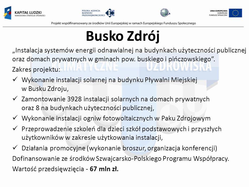 Busko Zdrój Instalacja systemów energii odnawialnej na budynkach użyteczności publicznej oraz domach prywatnych w gminach pow. buskiego i pińczowskieg