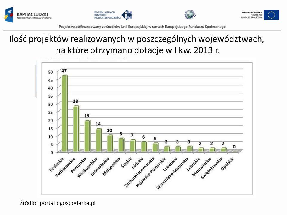 Ilość projektów realizowanych w poszczególnych województwach, na które otrzymano dotacje w I kw. 2013 r. Źródło: portal egospodarka.pl