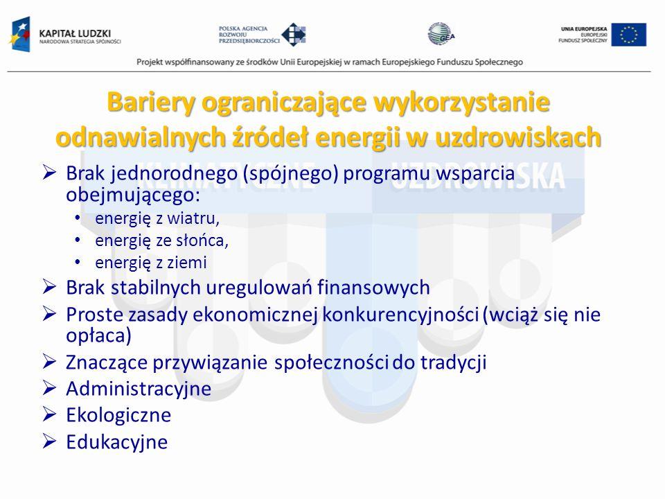 Bariery ograniczające wykorzystanie odnawialnych źródeł energii w uzdrowiskach Brak jednorodnego (spójnego) programu wsparcia obejmującego: energię z