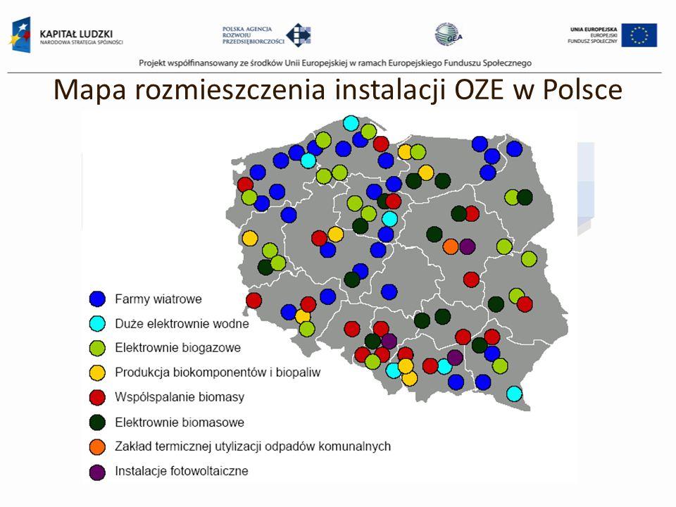 Mapa rozmieszczenia instalacji OZE w Polsce