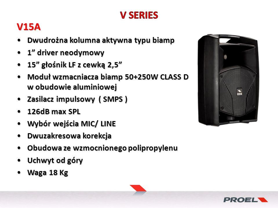 V15A Dwudrożna kolumna aktywna typu biampDwudrożna kolumna aktywna typu biamp 1 driver neodymowy1 driver neodymowy 15 głośnik LF z cewką 2,515 głośnik LF z cewką 2,5 Moduł wzmacniacza biamp 50+250W CLASS D w obudowie aluminiowejModuł wzmacniacza biamp 50+250W CLASS D w obudowie aluminiowej Zasilacz impulsowy ( SMPS )Zasilacz impulsowy ( SMPS ) 126dB max SPL126dB max SPL Wybór wejścia MIC/ LINEWybór wejścia MIC/ LINE Dwuzakresowa korekcjaDwuzakresowa korekcja Obudowa ze wzmocnionego polipropylenuObudowa ze wzmocnionego polipropylenu Uchwyt od góryUchwyt od góry Waga 18 KgWaga 18 Kg