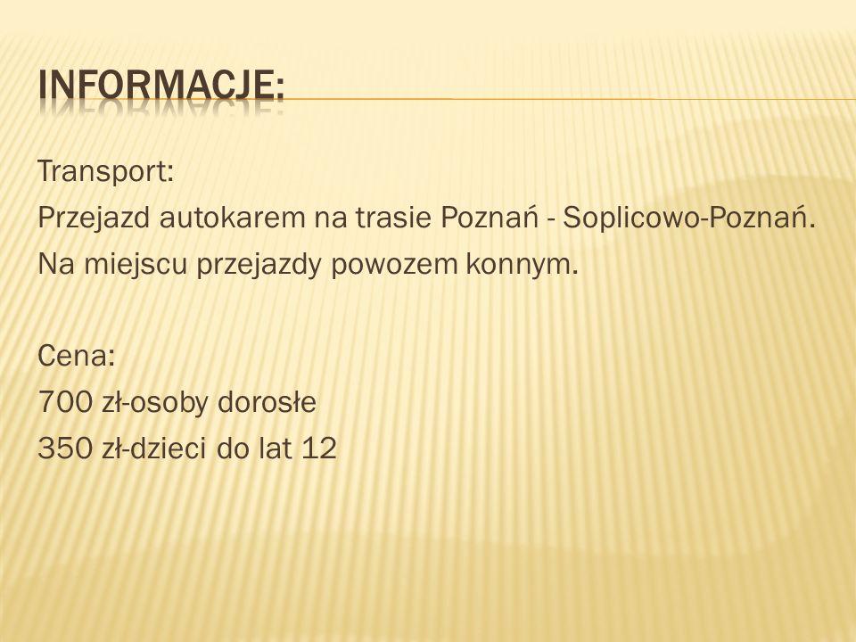 Transport: Przejazd autokarem na trasie Poznań - Soplicowo-Poznań. Na miejscu przejazdy powozem konnym. Cena: 700 zł-osoby dorosłe 350 zł-dzieci do la