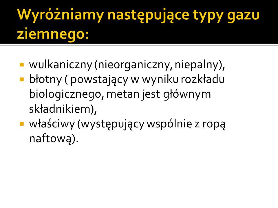 wulkaniczny (nieorganiczny, niepalny), błotny ( powstający w wyniku rozkładu biologicznego, metan jest głównym składnikiem), właściwy (występujący wsp