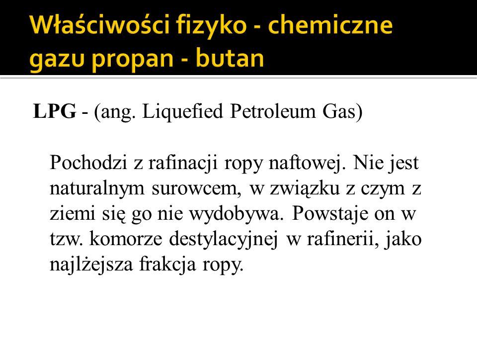 LPG - (ang. Liquefied Petroleum Gas) Pochodzi z rafinacji ropy naftowej. Nie jest naturalnym surowcem, w związku z czym z ziemi się go nie wydobywa. P