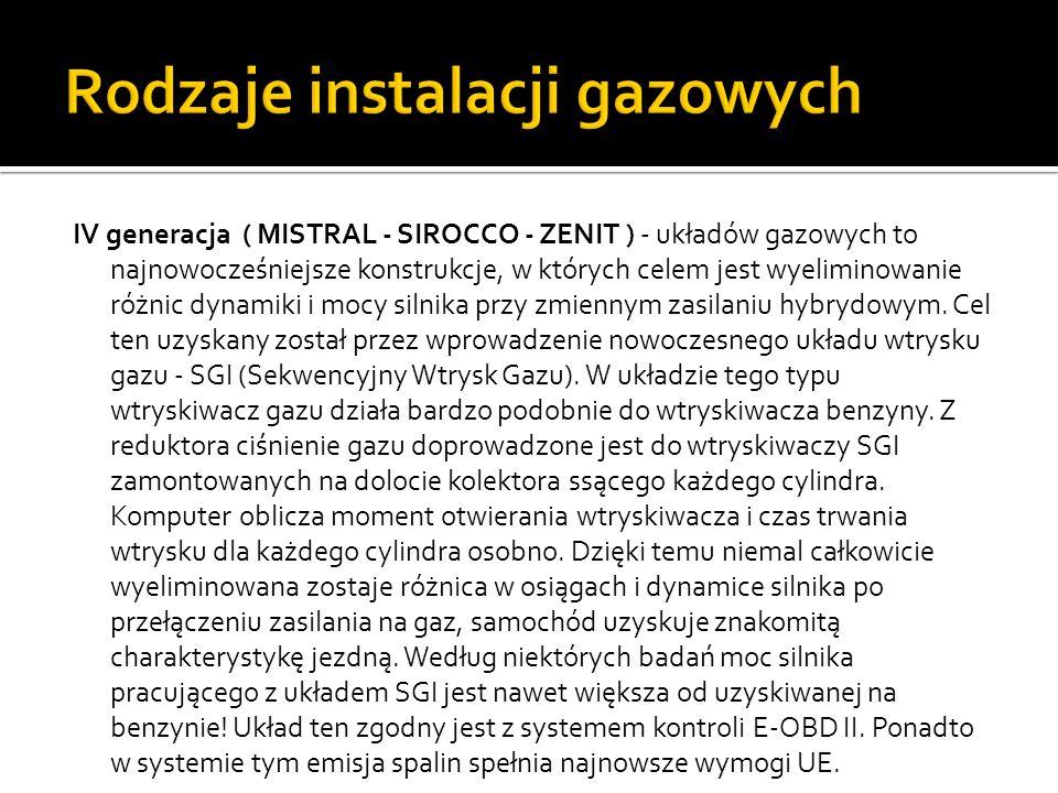 IV generacja ( MISTRAL - SIROCCO - ZENIT ) - układów gazowych to najnowocześniejsze konstrukcje, w których celem jest wyeliminowanie różnic dynamiki i