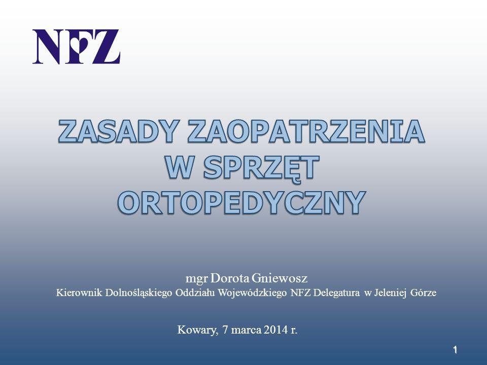 1 mgr Dorota Gniewosz Kierownik Dolnośląskiego Oddziału Wojewódzkiego NFZ Delegatura w Jeleniej Górze Kowary, 7 marca 2014 r.