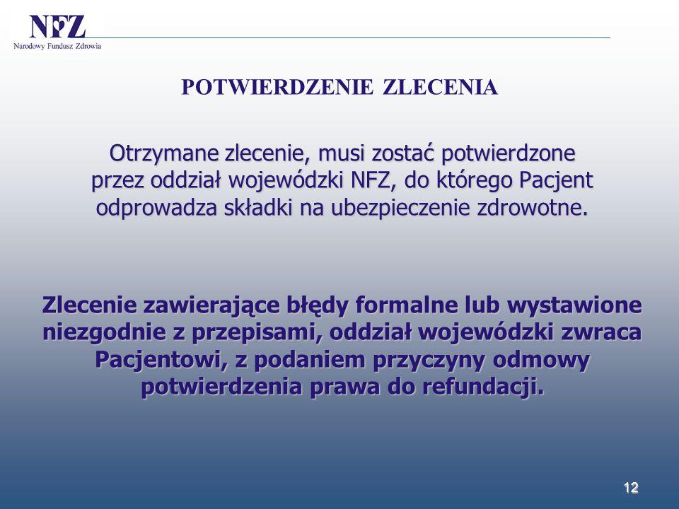 Otrzymane zlecenie, musi zostać potwierdzone przez oddział wojewódzki NFZ, do którego Pacjent odprowadza składki na ubezpieczenie zdrowotne. Zlecenie