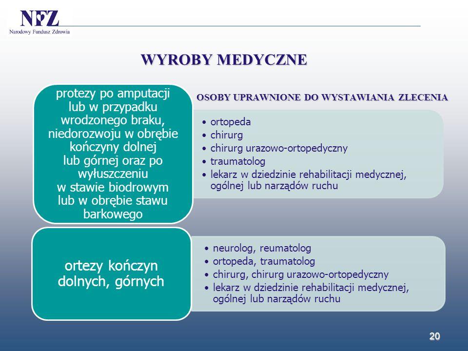 20 WYROBY MEDYCZNE ortopeda chirurg chirurg urazowo-ortopedyczny traumatolog lekarz w dziedzinie rehabilitacji medycznej, ogólnej lub narządów ruchu p