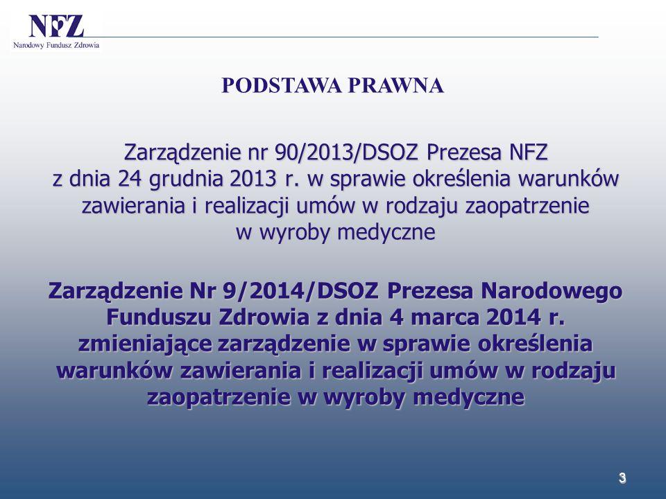 Zarządzenie nr 90/2013/DSOZ Prezesa NFZ z dnia 24 grudnia 2013 r. w sprawie określenia warunków zawierania i realizacji umów w rodzaju zaopatrzenie w