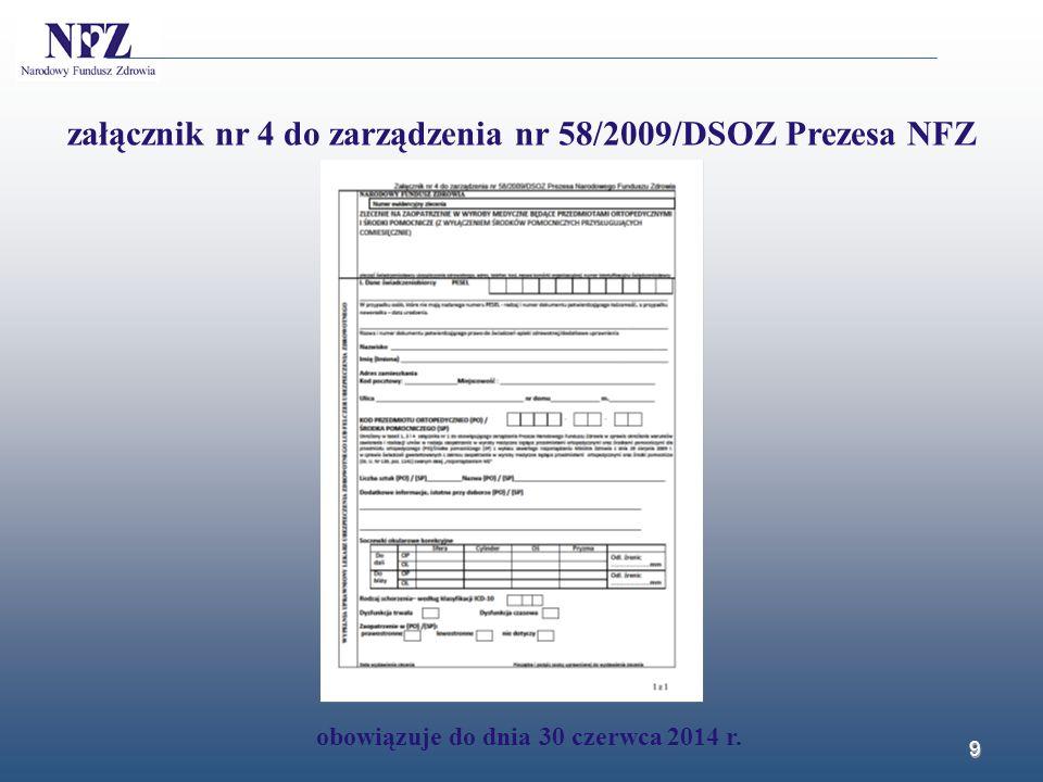 10 załącznik nr 4 do zarządzenia nr 58/2009/DSOZ Prezesa NFZ obowiązuje do dnia 30 czerwca 2014 r.