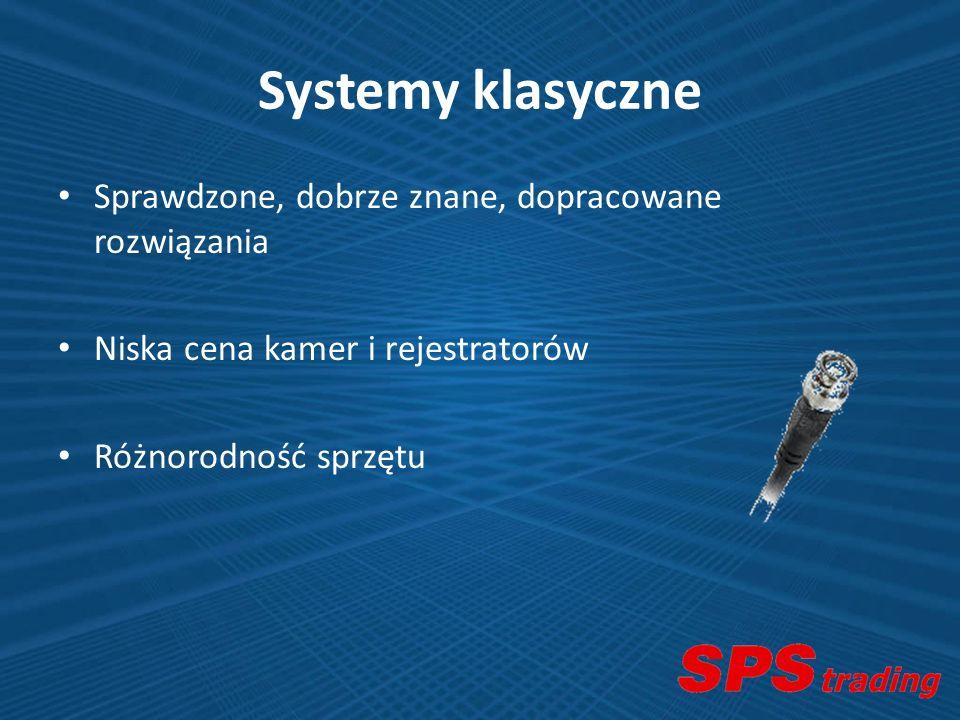Systemy klasyczne Sprawdzone, dobrze znane, dopracowane rozwiązania Niska cena kamer i rejestratorów Różnorodność sprzętu