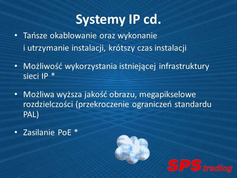 Systemy IP cd. Tańsze okablowanie oraz wykonanie i utrzymanie instalacji, krótszy czas instalacji Możliwość wykorzystania istniejącej infrastruktury s