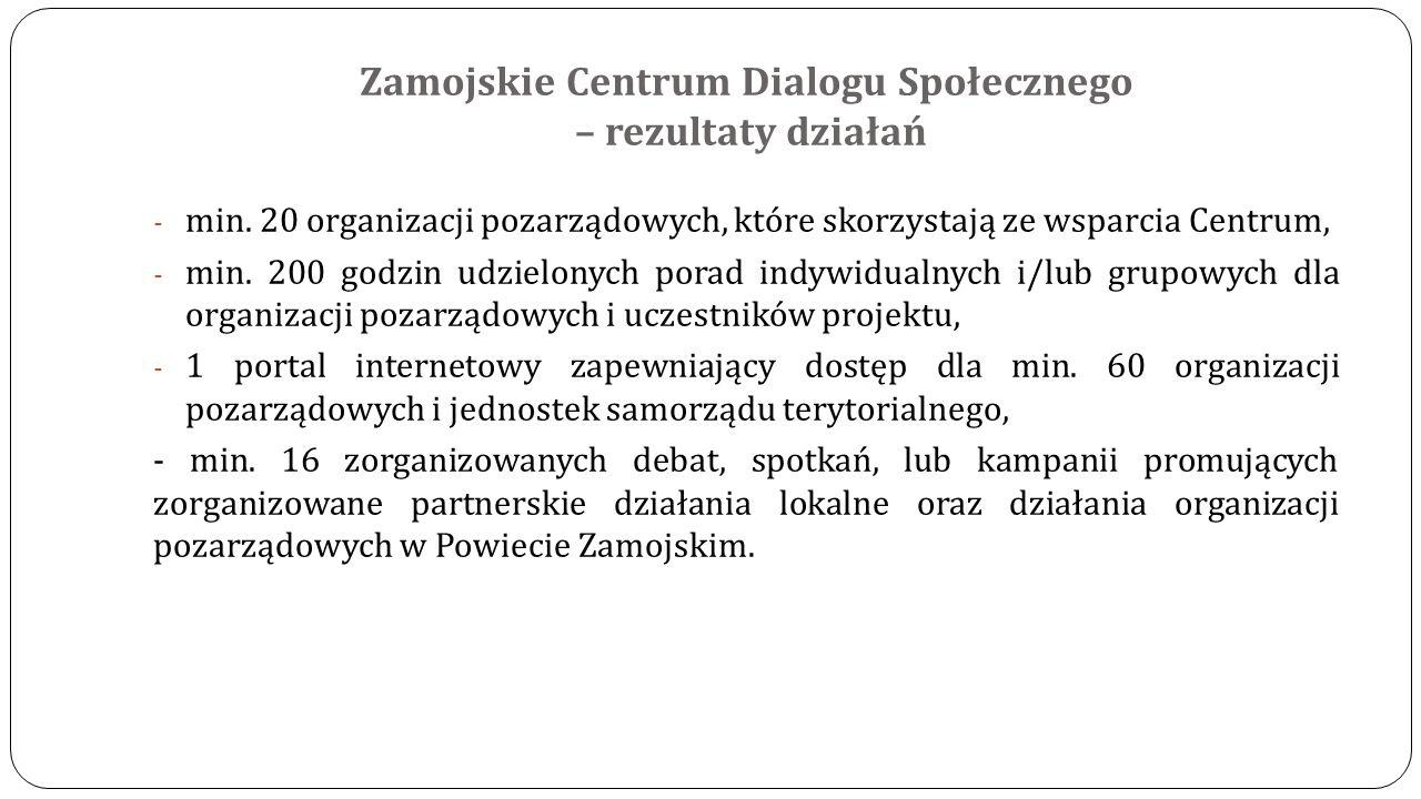 Zamojskie Centrum Dialogu Społecznego – rezultaty działań - min. 20 organizacji pozarządowych, które skorzystają ze wsparcia Centrum, - min. 200 godzi