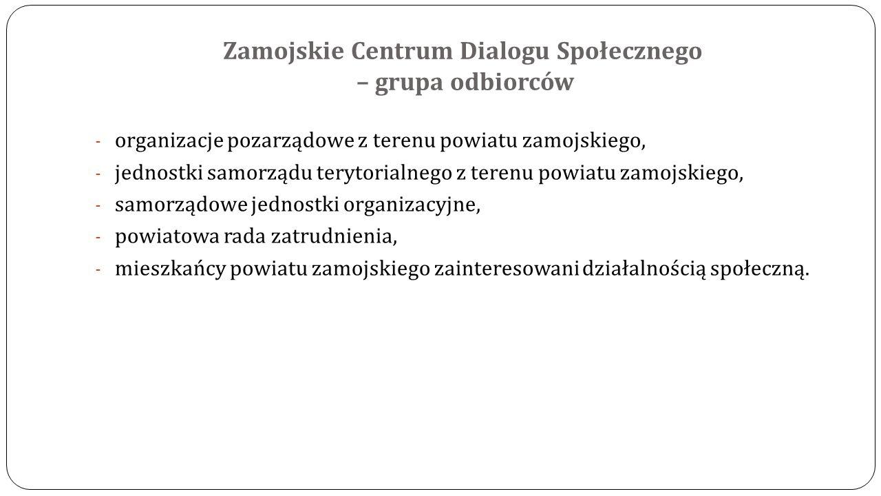 Zamojskie Centrum Dialogu Społecznego – grupa odbiorców - organizacje pozarządowe z terenu powiatu zamojskiego, - jednostki samorządu terytorialnego z