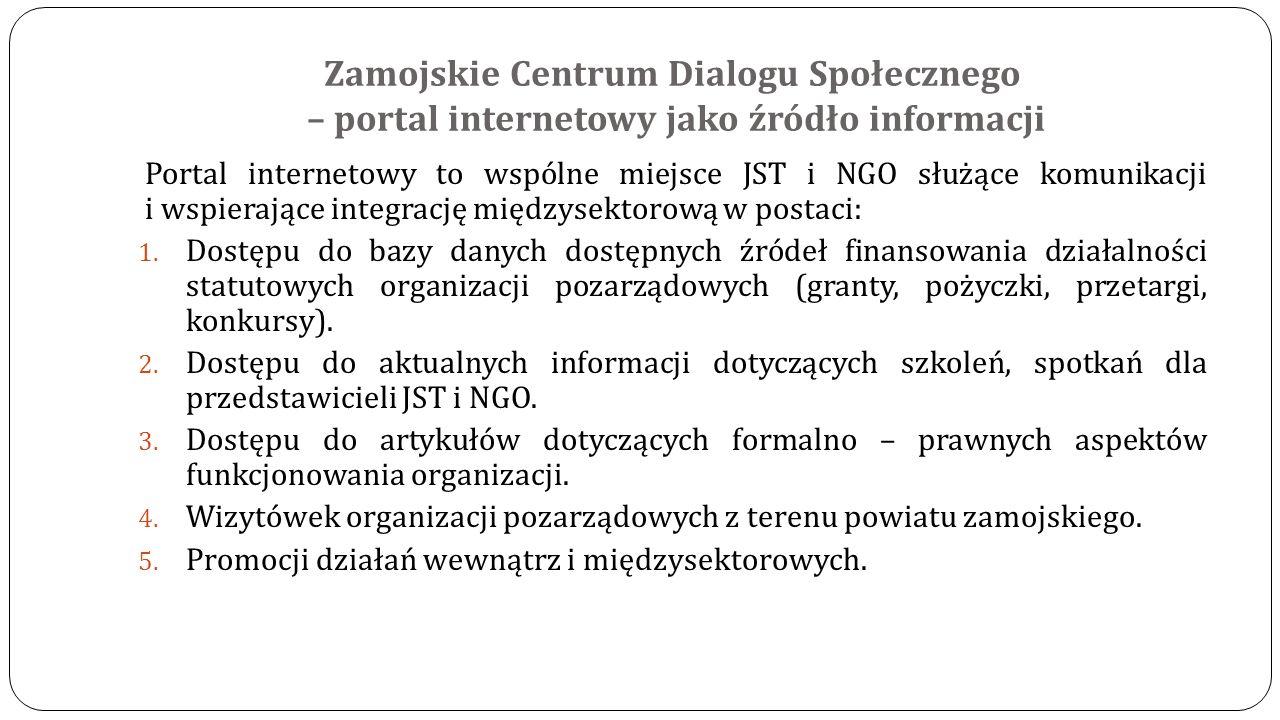 Zamojskie Centrum Dialogu Społecznego – portal internetowy jako źródło informacji Portal internetowy to wspólne miejsce JST i NGO służące komunikacji