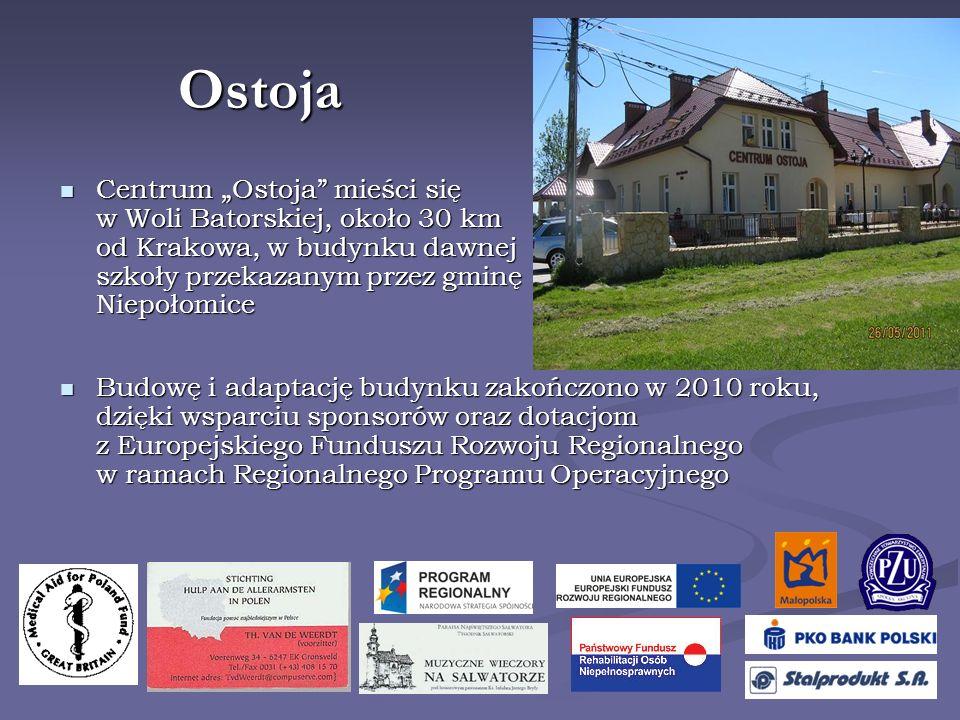 Ostoja Budowę i adaptację budynku zakończono w 2010 roku, dzięki wsparciu sponsorów oraz dotacjom z Europejskiego Funduszu Rozwoju Regionalnego w ramach Regionalnego Programu Operacyjnego Budowę i adaptację budynku zakończono w 2010 roku, dzięki wsparciu sponsorów oraz dotacjom z Europejskiego Funduszu Rozwoju Regionalnego w ramach Regionalnego Programu Operacyjnego Centrum Ostoja mieści się w Woli Batorskiej, około 30 km od Krakowa, w budynku dawnej szkoły przekazanym przez gminę Niepołomice