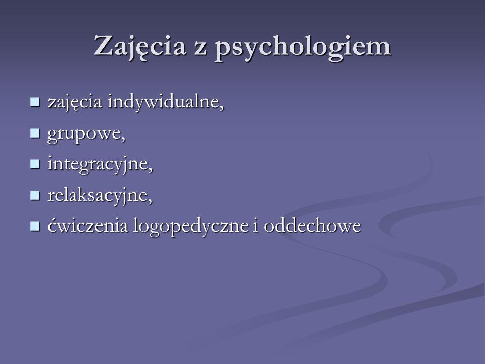 Zajęcia z psychologiem zajęcia indywidualne, zajęcia indywidualne, grupowe, grupowe, integracyjne, integracyjne, relaksacyjne, relaksacyjne, ćwiczenia logopedyczne i oddechowe ćwiczenia logopedyczne i oddechowe
