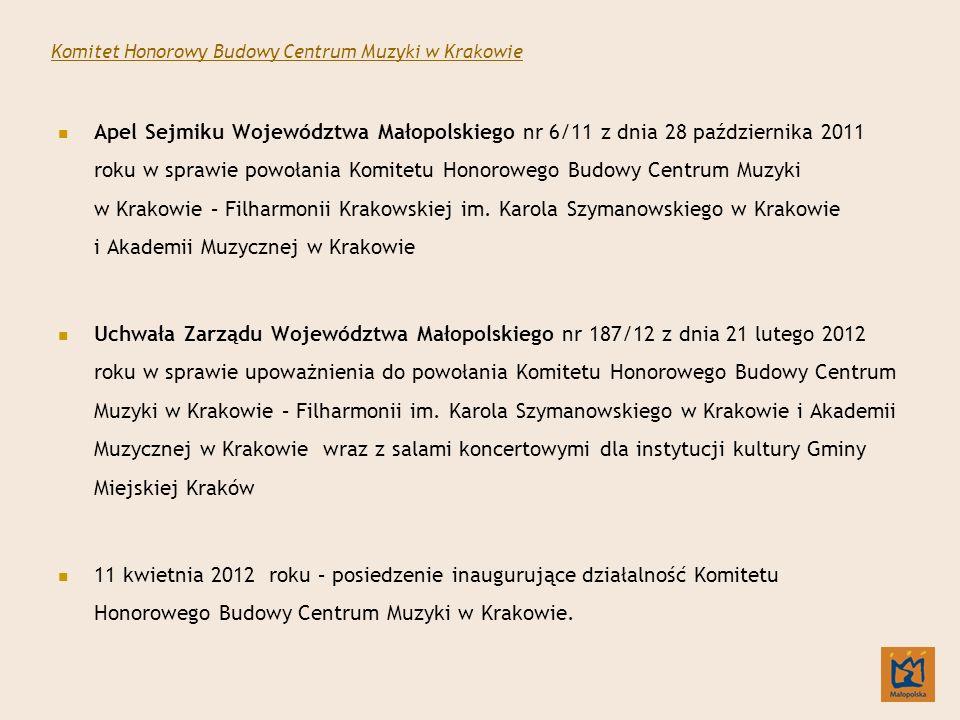 Apel Sejmiku Województwa Małopolskiego nr 6/11 z dnia 28 października 2011 roku w sprawie powołania Komitetu Honorowego Budowy Centrum Muzyki w Krakowie – Filharmonii Krakowskiej im.