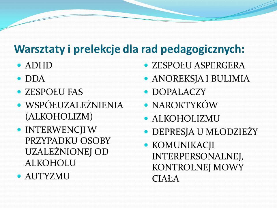 Warsztaty i prelekcje dla rad pedagogicznych: ADHD DDA ZESPOŁU FAS WSPÓŁUZALEŻNIENIA (ALKOHOLIZM) INTERWENCJI W PRZYPADKU OSOBY UZALEŻNIONEJ OD ALKOHO
