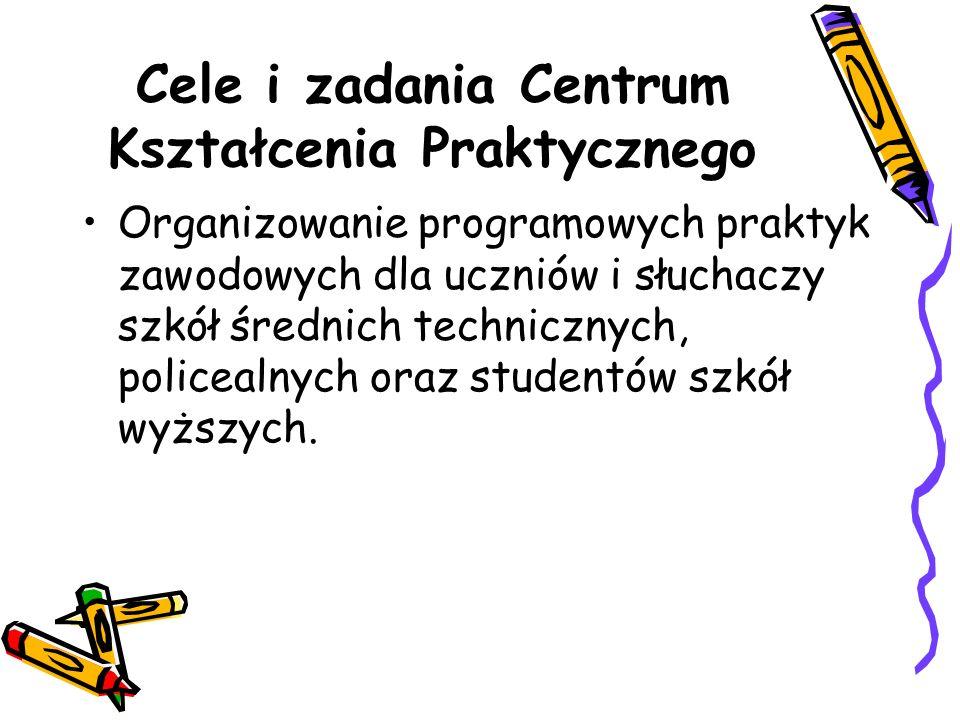 Cele i zadania Centrum Kształcenia Praktycznego Organizowanie programowych praktyk zawodowych dla uczniów i słuchaczy szkół średnich technicznych, policealnych oraz studentów szkół wyższych.