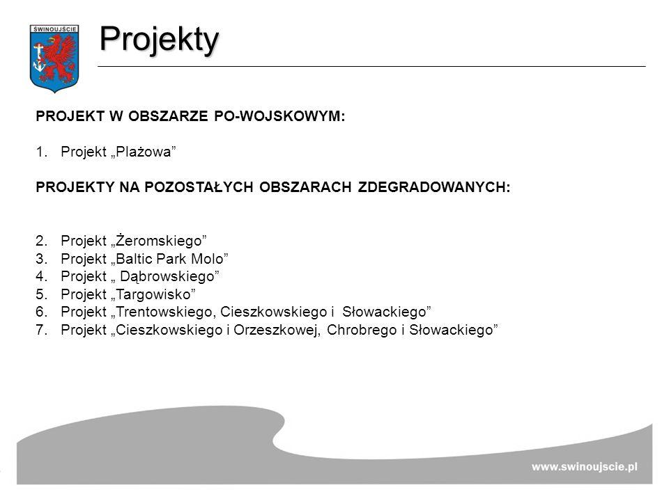 Projekty PROJEKT W OBSZARZE PO-WOJSKOWYM: 1.Projekt Plażowa PROJEKTY NA POZOSTAŁYCH OBSZARACH ZDEGRADOWANYCH: 2. Projekt Żeromskiego 3. Projekt Baltic