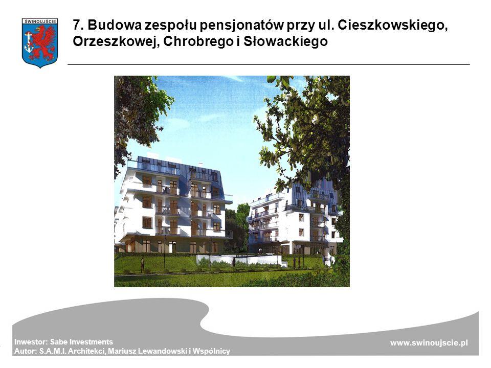 Inwestor: Sabe Investments Autor: S.A.M.I. Architekci, Mariusz Lewandowski i Wspólnicy 7. Budowa zespołu pensjonatów przy ul. Cieszkowskiego, Orzeszko