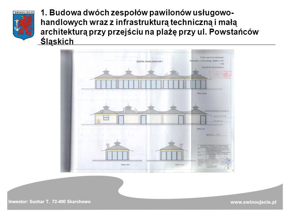 1. Budowa dwóch zespołów pawilonów usługowo- handlowych wraz z infrastrukturą techniczną i małą architekturą przy przejściu na plażę przy ul. Powstańc