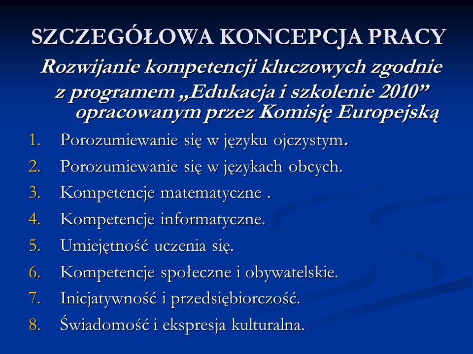 SZCZEGÓŁOWA KONCEPCJA PRACY Rozwijanie kompetencji kluczowych zgodnie z programem Edukacja i szkolenie 2010 opracowanym przez Komisję Europejską 1.Por