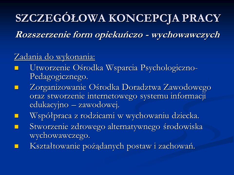SZCZEGÓŁOWA KONCEPCJA PRACY Rozszerzenie form opiekuńczo - wychowawczych Zadania do wykonania: Utworzenie Ośrodka Wsparcia Psychologiczno- Pedagogiczn