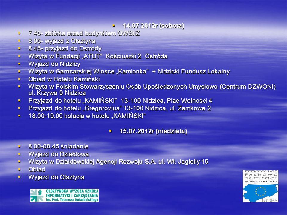 WYJAZD STUDYJNY: OLSZTYN – GIŻYCKO – EŁK – PROSTKI - OLSZTYN 18.08.2012 r.(sobota) 18.08.2012 r.(sobota) - wyjazd z Olsztyna - wyjazd z Olsztyna - przyjazd do Giżycka - przyjazd do Giżycka Polskie Stowarzyszenie na Rzecz Osób z Upośledzeniem Umysłowym w Giżycku Polskie Stowarzyszenie na Rzecz Osób z Upośledzeniem Umysłowym w Giżycku Szkoła Szkoła Warsztaty terapii zajęciowej Warsztaty terapii zajęciowej Centrum DZWONI czyli Centrum Doradztwa Zawodowego i Wspierania Osób Niepełnosprawnych Intelektualnie.