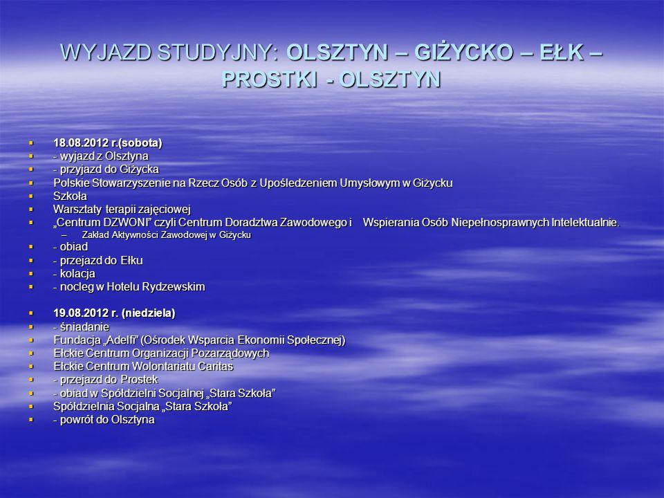 WYJAZD STUDYJNY: OLSZTYN – GIŻYCKO – EŁK – PROSTKI - OLSZTYN 18.08.2012 r.(sobota) 18.08.2012 r.(sobota) - wyjazd z Olsztyna - wyjazd z Olsztyna - prz