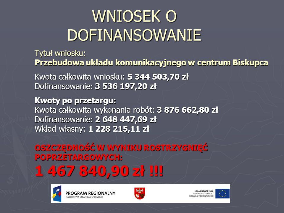 Tytuł wniosku: Przebudowa układu komunikacyjnego w centrum Biskupca Kwota całkowita wniosku: 5 344 503,70 zł Dofinansowanie: 3 536 197,20 zł Kwoty po