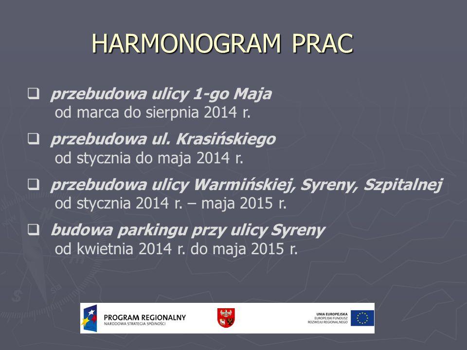 HARMONOGRAM PRAC przebudowa ulicy 1-go Maja od marca do sierpnia 2014 r. przebudowa ul. Krasińskiego od stycznia do maja 2014 r. przebudowa ulicy Warm
