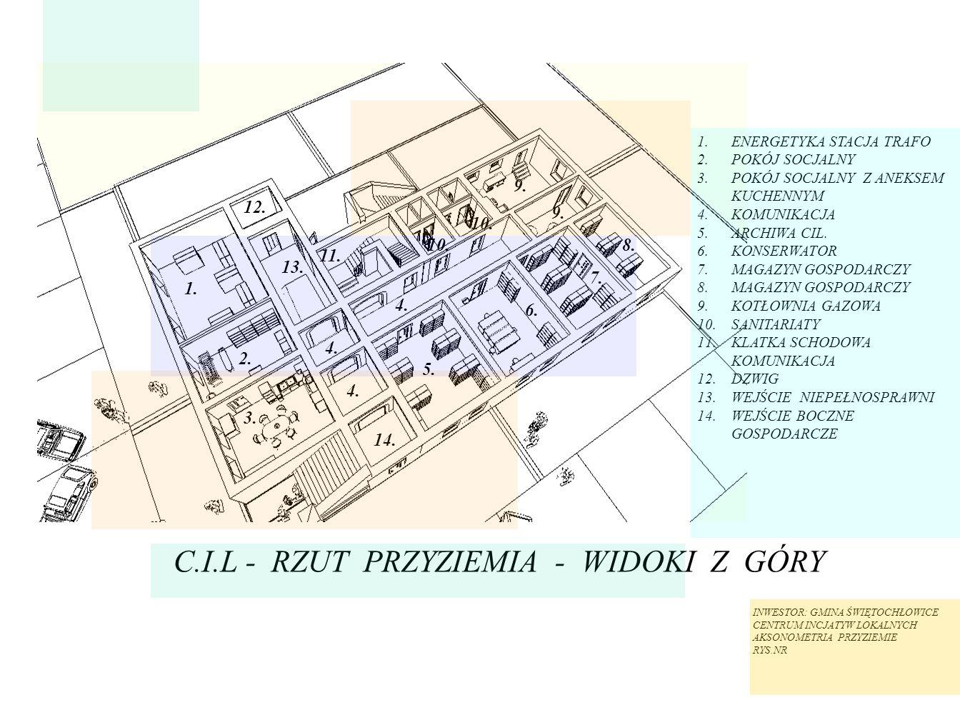 C.I.L - RZUT PRZYZIEMIA - WIDOKI Z GÓRY 1.ENERGETYKA STACJA TRAFO 2.POKÓJ SOCJALNY 3.POKÓJ SOCJALNY Z ANEKSEM KUCHENNYM 4.KOMUNIKACJA 5.ARCHIWA CIL. 6