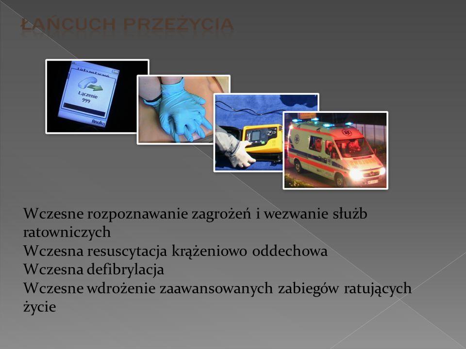 Wczesne rozpoznawanie zagrożeń i wezwanie służb ratowniczych Wczesna resuscytacja krążeniowo oddechowa Wczesna defibrylacja Wczesne wdrożenie zaawanso