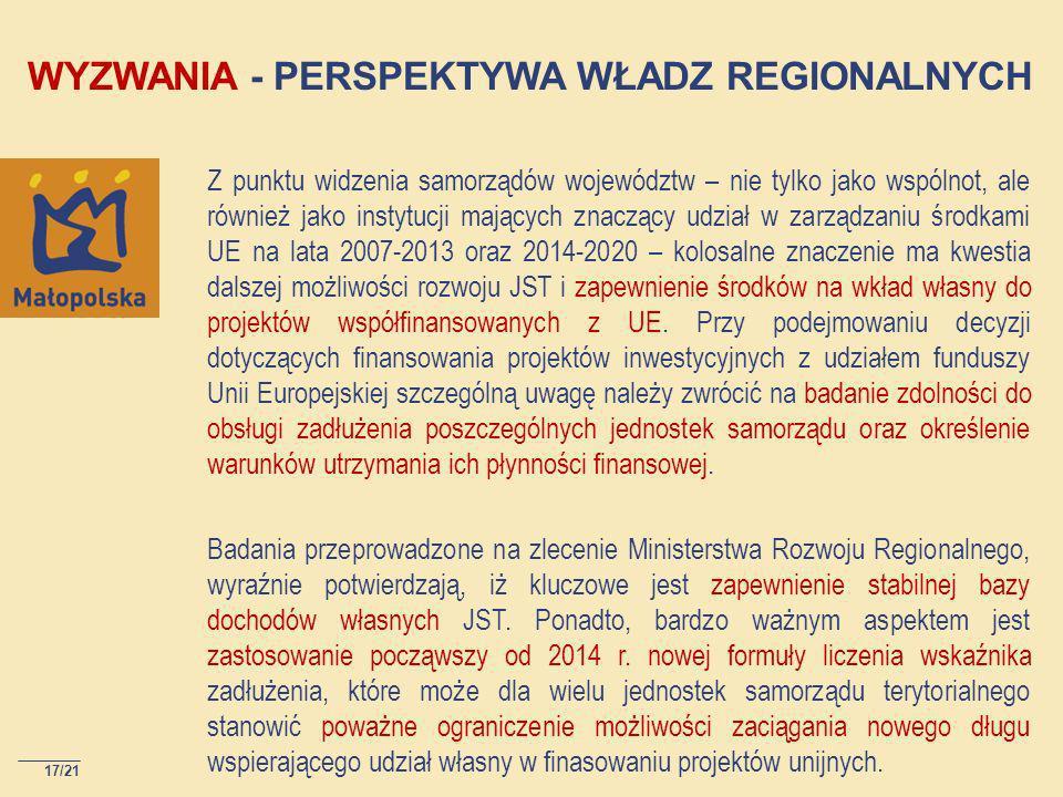 17/21 Z punktu widzenia samorządów województw – nie tylko jako wspólnot, ale również jako instytucji mających znaczący udział w zarządzaniu środkami UE na lata 2007-2013 oraz 2014-2020 – kolosalne znaczenie ma kwestia dalszej możliwości rozwoju JST i zapewnienie środków na wkład własny do projektów współfinansowanych z UE.