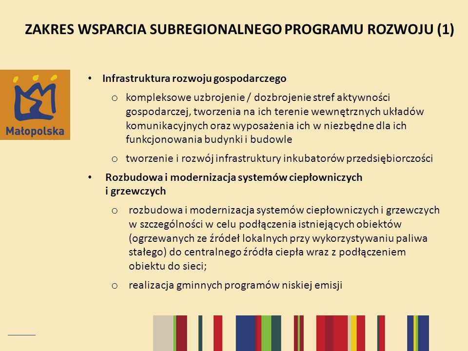 ZAKRES WSPARCIA SUBREGIONALNEGO PROGRAMU ROZWOJU (1) Infrastruktura rozwoju gospodarczego o kompleksowe uzbrojenie / dozbrojenie stref aktywności gospodarczej, tworzenia na ich terenie wewnętrznych układów komunikacyjnych oraz wyposażenia ich w niezbędne dla ich funkcjonowania budynki i budowle o tworzenie i rozwój infrastruktury inkubatorów przedsiębiorczości Rozbudowa i modernizacja systemów ciepłowniczych i grzewczych o rozbudowa i modernizacja systemów ciepłowniczych i grzewczych w szczególności w celu podłączenia istniejących obiektów (ogrzewanych ze źródeł lokalnych przy wykorzystywaniu paliwa stałego) do centralnego źródła ciepła wraz z podłączeniem obiektu do sieci; o realizacja gminnych programów niskiej emisji