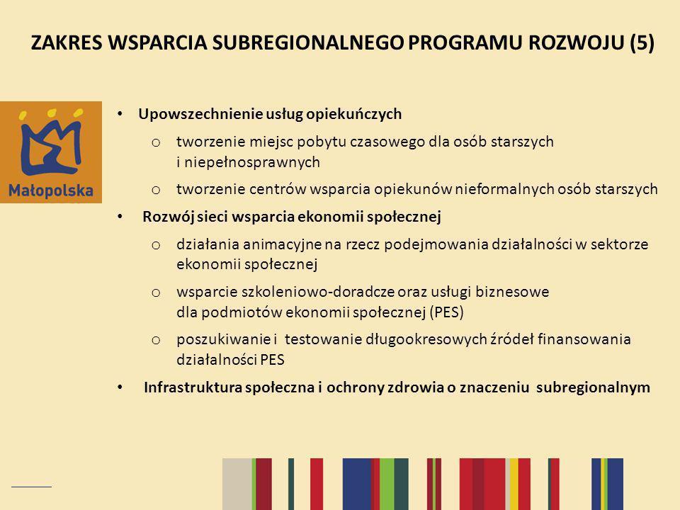 ZAKRES WSPARCIA SUBREGIONALNEGO PROGRAMU ROZWOJU (5) Upowszechnienie usług opiekuńczych o tworzenie miejsc pobytu czasowego dla osób starszych i niepełnosprawnych o tworzenie centrów wsparcia opiekunów nieformalnych osób starszych Rozwój sieci wsparcia ekonomii społecznej o działania animacyjne na rzecz podejmowania działalności w sektorze ekonomii społecznej o wsparcie szkoleniowo-doradcze oraz usługi biznesowe dla podmiotów ekonomii społecznej (PES) o poszukiwanie i testowanie długookresowych źródeł finansowania działalności PES Infrastruktura społeczna i ochrony zdrowia o znaczeniu subregionalnym