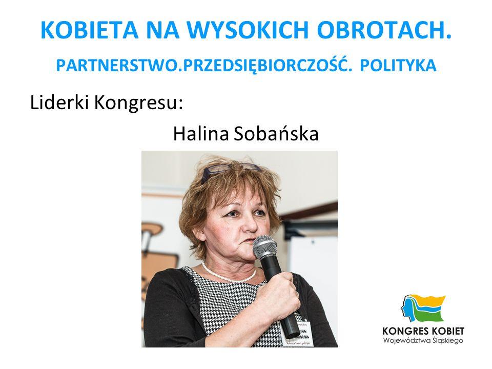 KOBIETA NA WYSOKICH OBROTACH. PARTNERSTWO.PRZEDSIĘBIORCZOŚĆ. POLITYKA Liderki Kongresu: Halina Sobańska