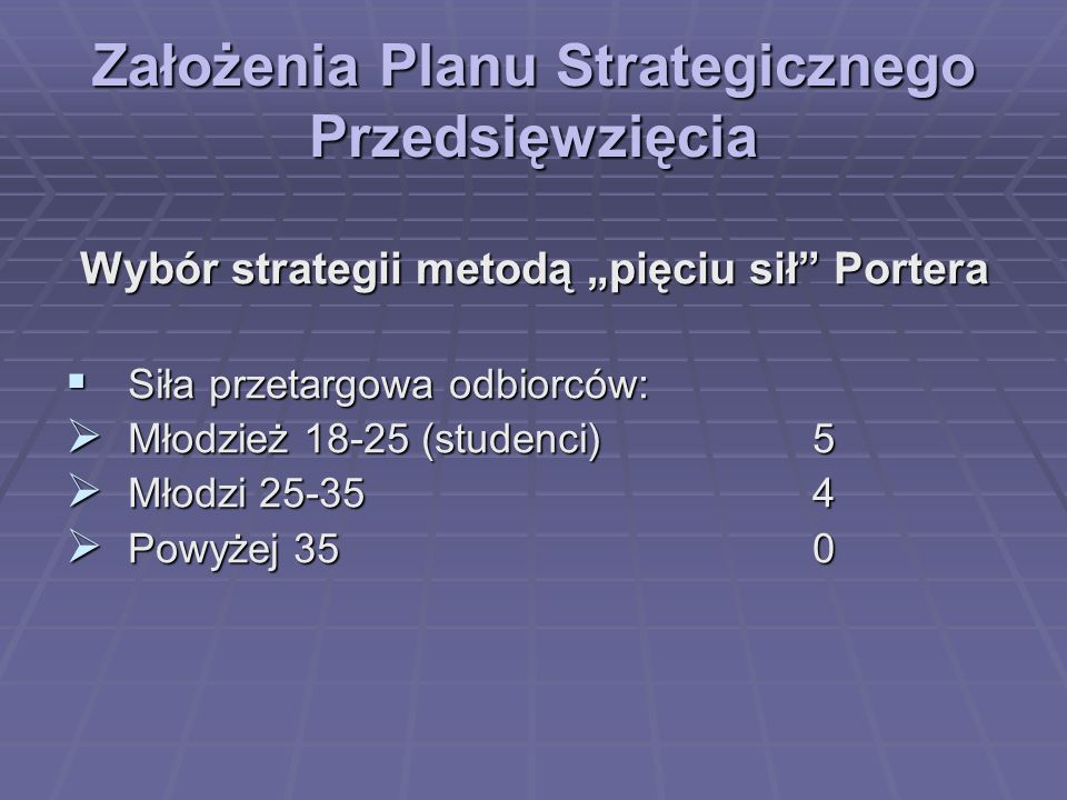 Założenia Planu Strategicznego Przedsięwzięcia Wybór strategii metodą pięciu sił Portera Siła przetargowa odbiorców: Siła przetargowa odbiorców: Młodz